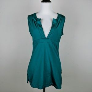Lucy Tech Teal Green Athletic V-neck Top